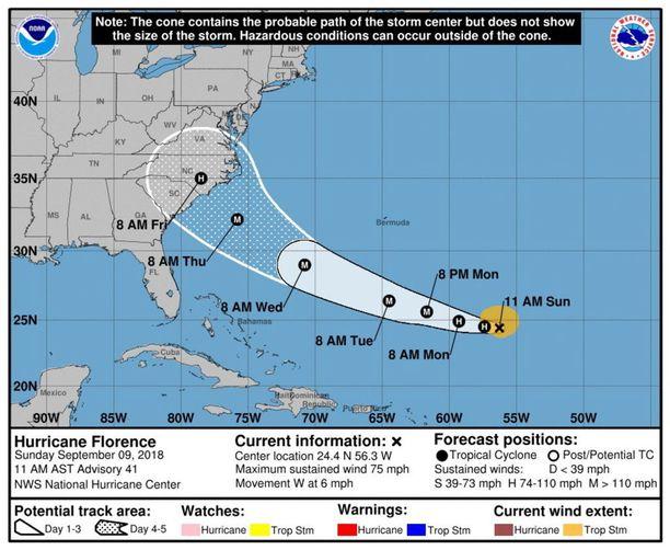 Florence lähestyy Yhdysvaltoja kaakosta.