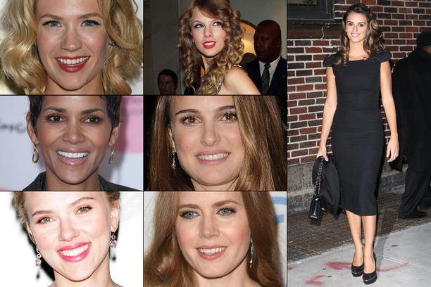 Näitä ominaisuuksia plastiikkakirurgien asiakkaat haikailevat eniten: January Jonesin (ylh. vas.) poskipäät, Taylor Swiftin (ylh. kesk.) hiukset, Halle Berryn (kesk. vas.) leukaperät, Natalie Portmanin (kesk.) nenä, Scarlett Johanssonin (alh. vas.) huulet, Amy Adamsin (alh. kesk.) iho ja Penelope Cruzin (oik.) vartalo.