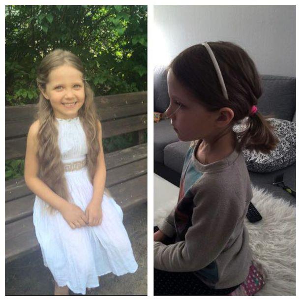 Kuvissa Enni Hänninen ennen (vas.) ja jälkeen kampaajalla käynnin. Pois leikatut hiussuortuvat ovat kotona tallessa odottamassa postitusta.