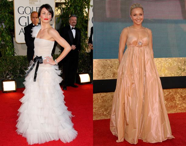 Iltapuvuista erikoismaininnan saivat muun muassa Cameron Diazin hääkakkumainen luomus Golden Globe -juhlissa ja Hayden Panettieren asu Emmy-tilaisuudessa.