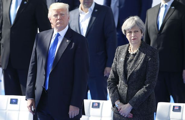 Yhdysvaltain presidentti Donald Trump ja Ison-Britannian pääministeri Theresa May tapasivat toukokuussa Brysselissä Naton huippukokouksessa.