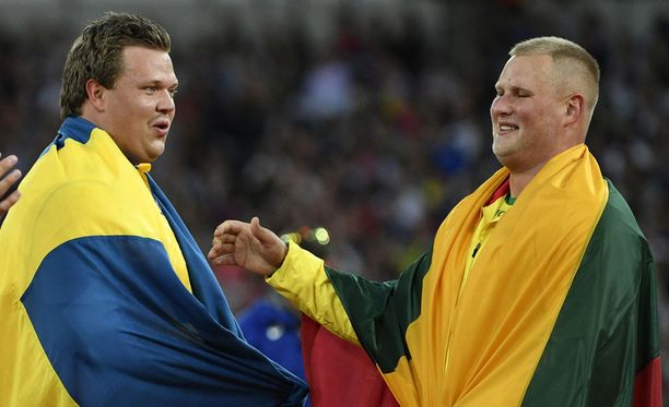 """Daniel Ståhl heitti komeasti 69,19, mutta tulos riitti """"vain"""" hopeaan. Liettuan Andrius Gudzius voitti kultaa tuloksella 69,21."""