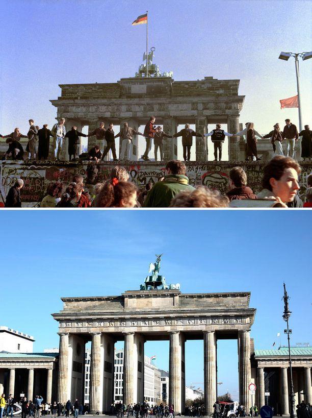 Kuvissa Brandenburgin portti Berliinissä 10.11.1989 ja lokakuussa 2014.
