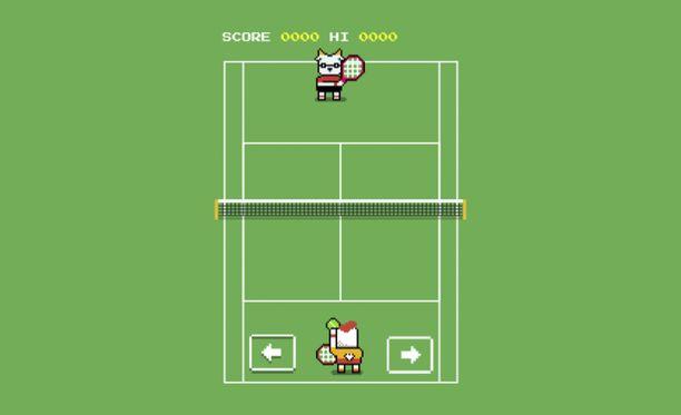 Googlen tennispeli muistuttaa Pong-peliä.