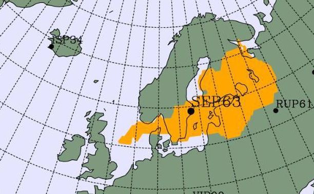 Ydinkoekieltosopimuksen noudattamista valvova CTBTO-järjestö julkaisi arvion siitä, millä alueella radioaktiivista säteilyä Pohjoismaiden yllä on.