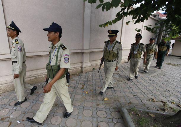 Kambodzhan poliisi kertoi pidätyksistä tapaninpäivänä. Arkistokuva vuodelta 2013.