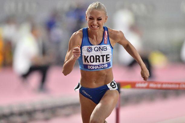 Annimari Korte oli välieränsä kuudes ajalla 12,97. Finaalipaikka olisi irronnut ajalla 12,65.