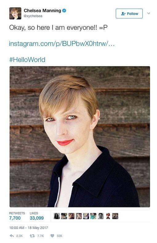 Chelsea Manning julkaisi itsestään kuvan Twitterissä.