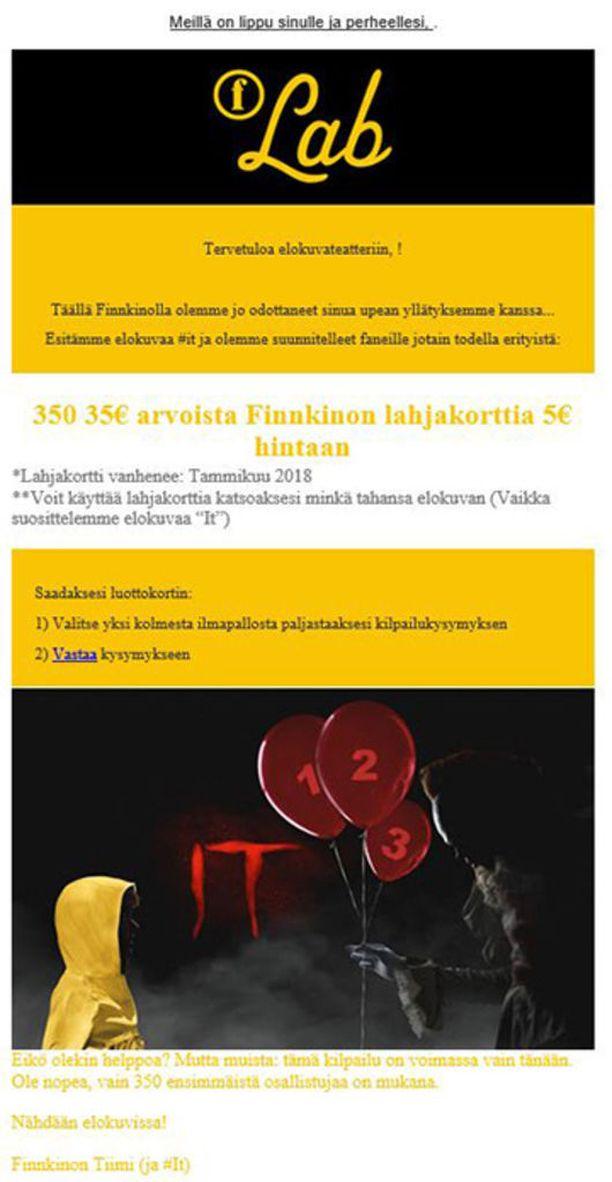 Finnkino on tiedottanut, että huijausviestit on saatettu naamioida näyttämään Finnkinon omilta viesteiltä.