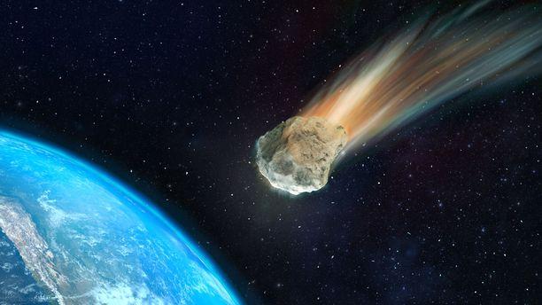 Asteroidi 2018VP1 tulee todennäköisesti pyyhkäisemään läheltä Maata, mutta sen ei uskota aiheuttavan tuhoa. Kuvituskuva.
