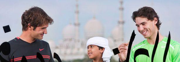 Federer ja Nadal osallistui joulukuussa Arabiemiraateissa sulassa sovussa arabialaisten kalligrafioiden tekoon.