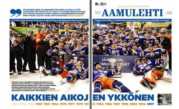 Tältä näytti Aamulehden etusivu perjantaina 28. huhtikuuta.