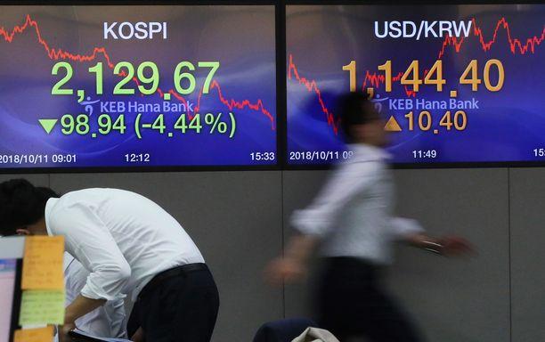 Etelä-Korean pörssissä oli torstaina kiirettä, kun kaikki halusivat myydä.