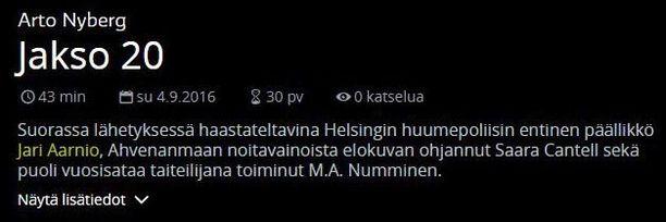 Jari Aarnion nimi oli vielä keskiviikkoiltana Ylen ohjelmatiedoissa. Torstaiaamuna se oli vaihdettu Satu Silvoon.