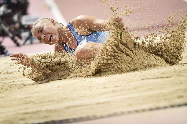 Taika Koilahti hyppäsi 2019 Dohan MM-kisoissa 635 ja jäi karsintaan.
