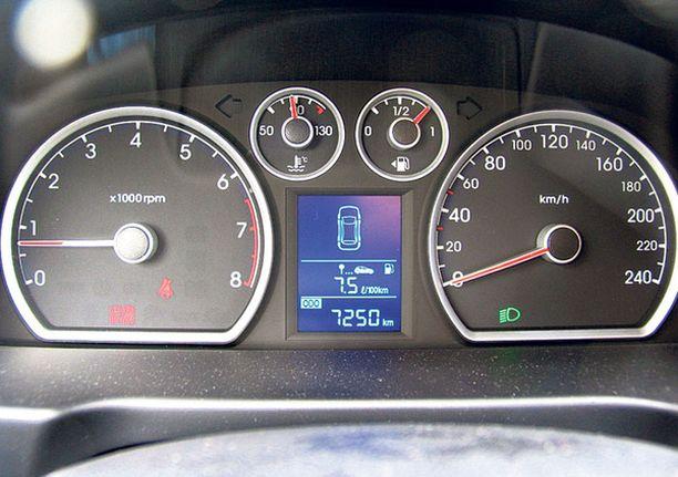 SINERTÄÄ Hyundain mittariston valaistus on sinertävä erona konsernisisar Kian oranssinruskeaan.