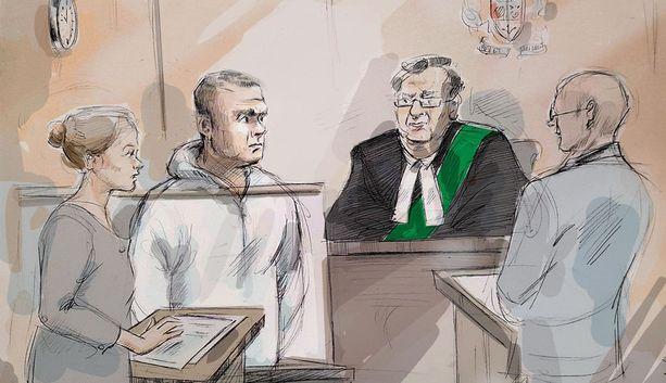 Alek Minassian (toinen vasemmalta) oikeudessa tiistaina. Oikeus määräsi valokuvauskiellon, joten julkisuuteen istunnosta välittyivät vain oikeussalipiirtäjän kuvat.