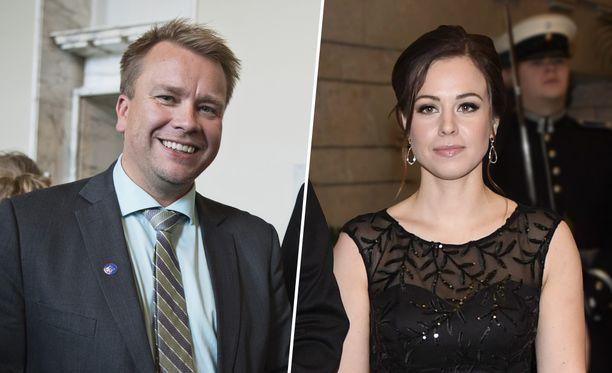 Puolustusministeri Antti Kaikkonen (kesk) ja hänen kihlattunsa Jannika Ranta.