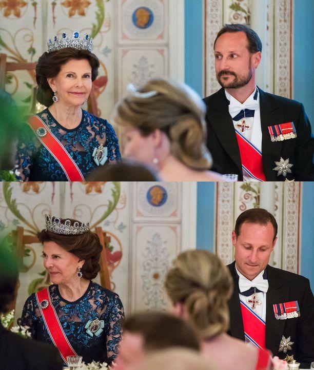 Prinssi Haakon istui illallisella Ruotsin kuningatar Silvian vieressä.