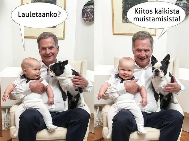 Aaro Niinistö täyttää tänään lauantaina vuoden. Presidentti Sauli Niinistön 70-vuotissyntymäpäivän kunniaksi julkaistussa kuvassa pikkumies on noin puolen vuoden ikäinen. Sauli-isän sylissä myös perheen Lennu-koira.