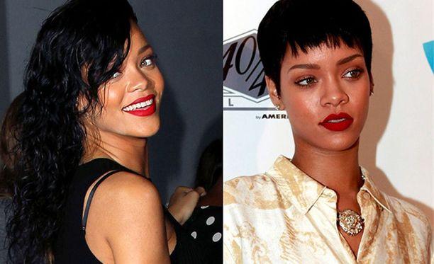Rihanna vaihtaa hiustyyliään lyhyestä pitkään ja väristä toiseen.