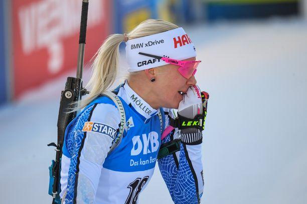 Kaisa Mäkäräinen liikuttui lauantaina Pohjois-Karjalassa.