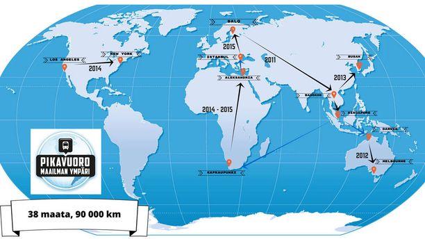 Suomalaisbussilla takana 38 maata ja 90 000 kilometriä. Pikavuoron kyydissä matkusti noin 150 ihmistä.