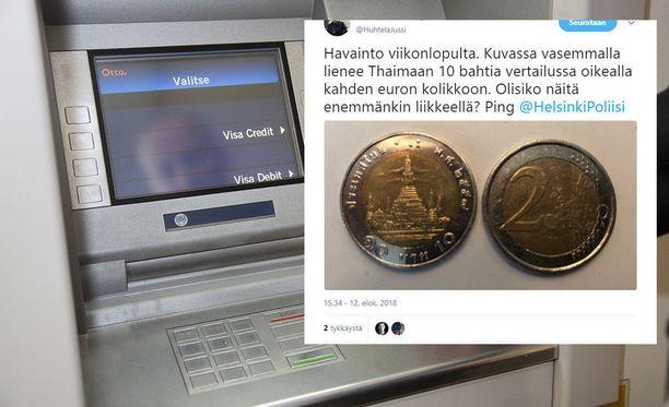 Kymmenen bahtia on noin 0,26 euroa.