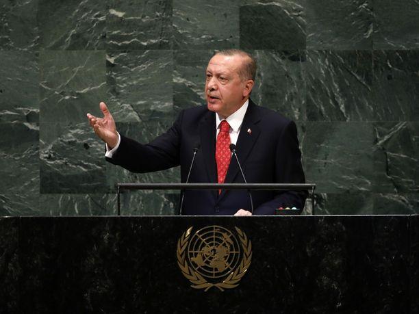 Erdogan puhui YK:n yleiskokouksessa New Yorkissa tiistaina.