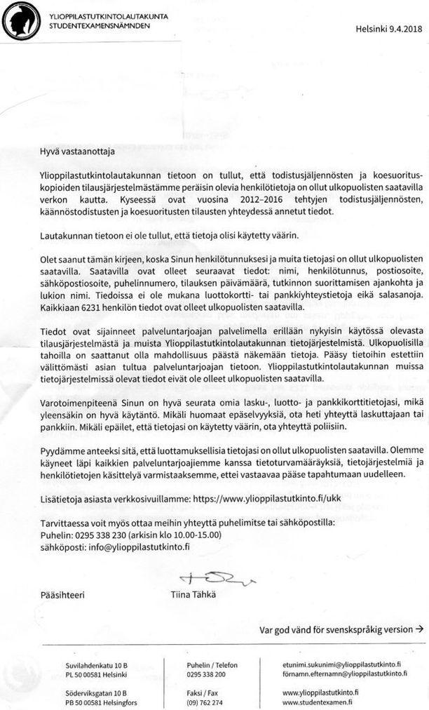 Tällaisen kirjeen Iltalehden lukija sai.