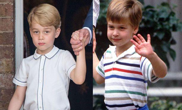 Kuvassa molemmat prinssit viisivuotiaina. Prinssi George on kuvassa vasemmalla.