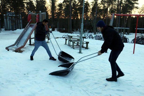 Lumen tultua turvapaikanhakijoille ajateltiin tarjota lumitöitä, mutta turvasäännökset estivät lumitöiden teettämisen. Kuvituskuva.