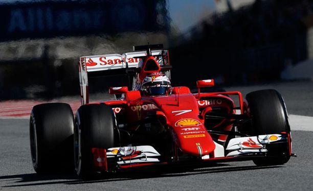 Kimi Räikkönen oli eilen Barcelonassa kolmanneksi nopein kuski.