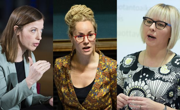 Vasemmistoliiton uudet ministerit ovat Li Andersson (vas.), Hanna Sarkkinen ja Aino-Kaisa Pekonen.