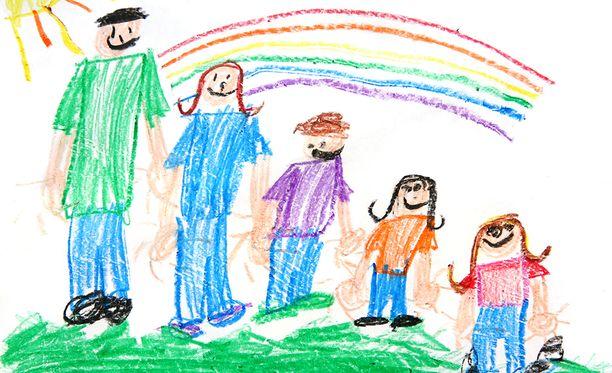 Lapsen piirros perheestä. Kuvituskuva.