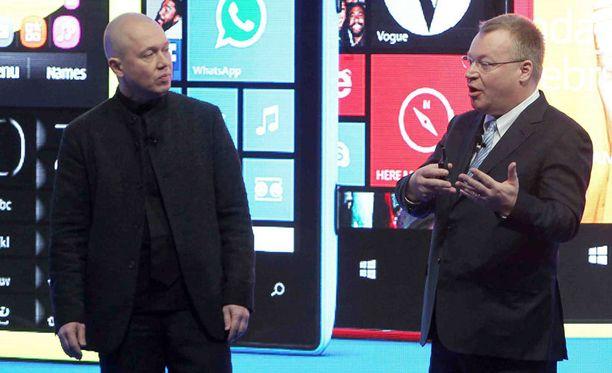 Marko Ahtisaari ja Stephen Elop esittelivät tänään neljä uutta Lumia-puhelinta Barcelonassa.