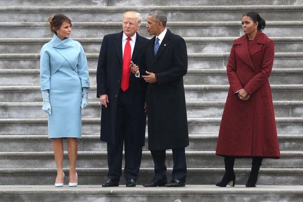 Donald Trump ja Barack Obama rinnakkain Trumpin virkaanastujaispäivänä 20. tammikuuta 2017.