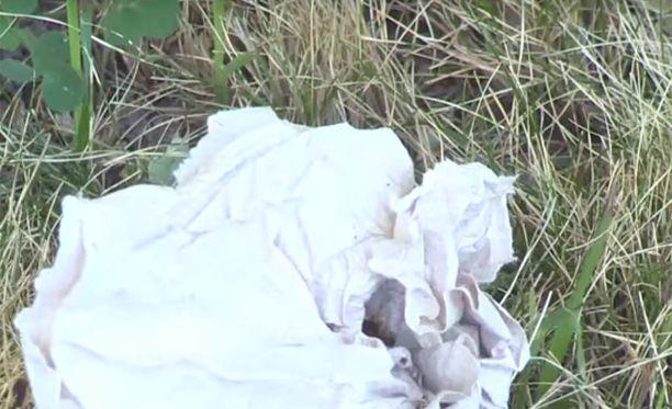 Naisella on mukana myös paperia takapuolensa pyyhkimiseen.