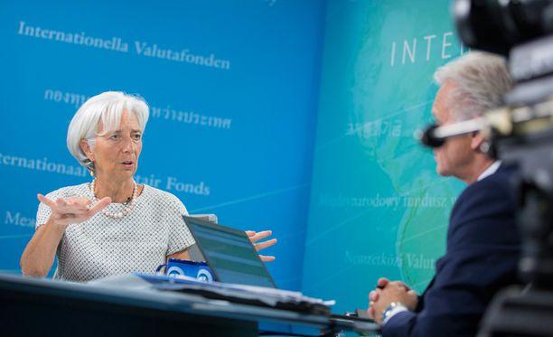 Kansainvälisen valuuttarahaston (IMF) pääjohtaja Christine Lagarde esiintyi televisiohaastattelussa keskiviikkona.
