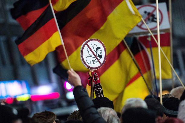 Maahanmuuttovastainen mielenosoitus Saksassa vuonna 2015.