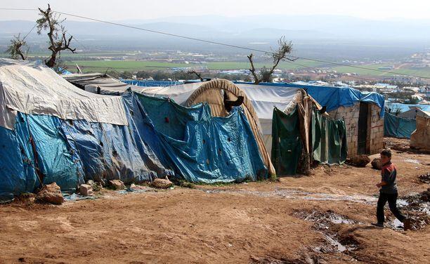 Syyrian maaseudulle perustettu pakolaisleiri helmikuussa 2018.