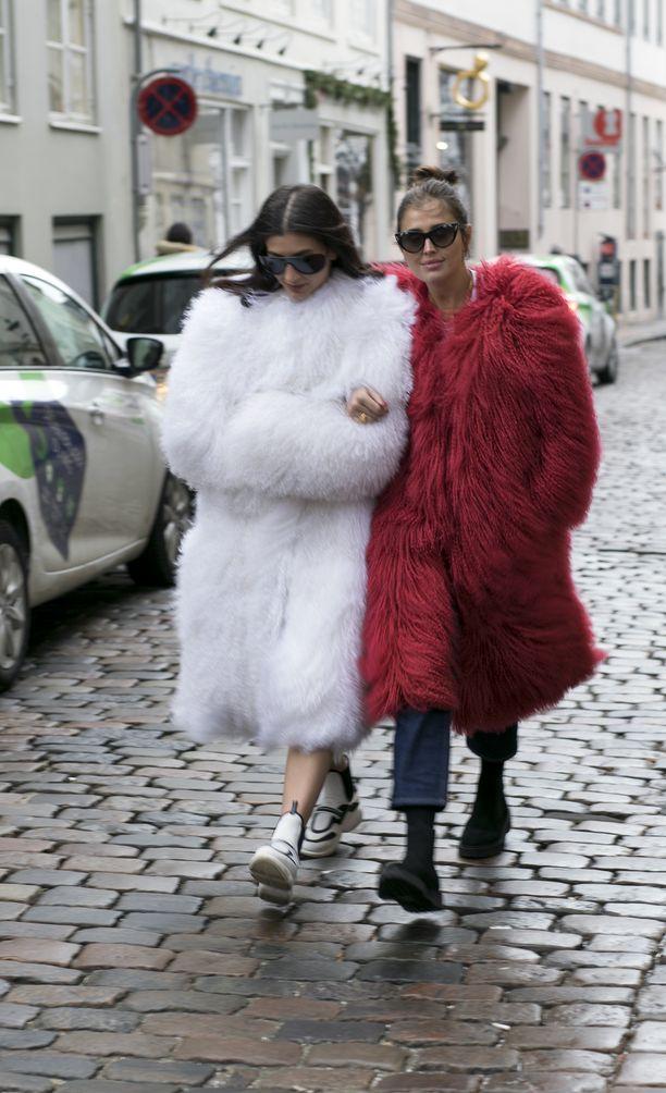 Jäätävän kylmässä tuulessa pärjää parhaiten ystävän käsikynkässä, pörröinen talvitakki päällä. Lookista ei tule yliampuva silloin, kun takin kanssa pukee rennot farkut ja matalakorkoiset kengät.