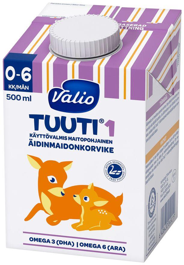 Kuvassa Valion Tuuti-äidinmaidonkorvikepakkaus.
