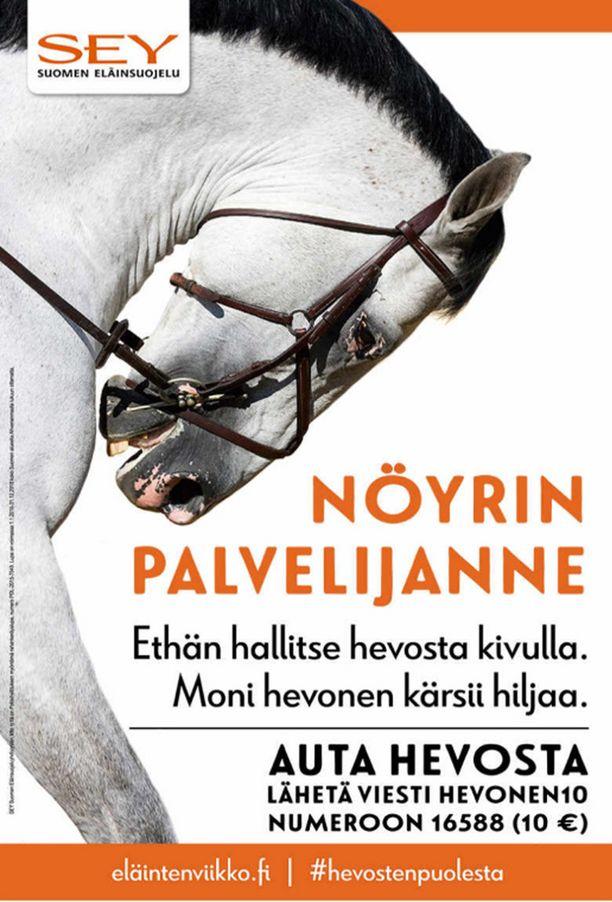 Eläinten viikon kampanjakuvassa on hevonen, johon on käytetty rollkur-menetelmää. Tämä menetelmä on Suomessa äärimmäisen harvinainen.