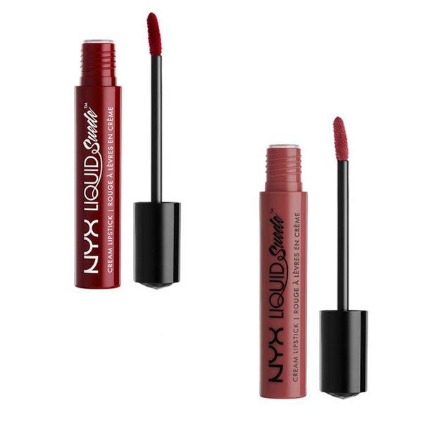 NYX Liquid Suede Cream Lipstick sävyissä Cherry Skies ja Soft Spoken.