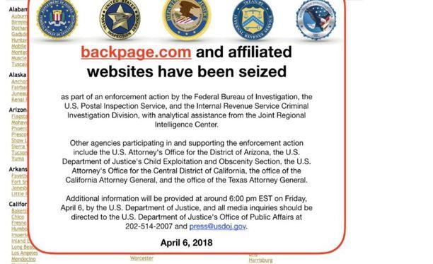 """""""Sivusto suljettu"""". Backpagen seksi-ilmoitukset sotivat uutta lakia vastaan, joten viranomainen sulki sivuston huhtikuussa."""