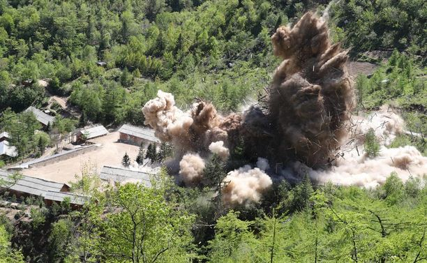Pohjois-Korea on ilmoittanut alkaneensa purkaa ydintestialueita. Kuva toukokuulta 2018.