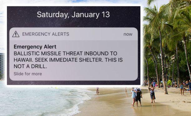 Havaijilaiset saivat lauantaiaamuna virheellisen viestin, jossa varoitettiin lähestyvästä ballistisesta ohjuksesta.
