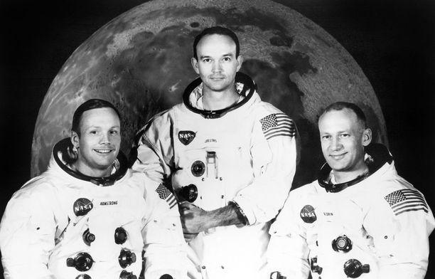 """Neil A. Armstrong, Michael Collins ja Edwin E. """"Buzz"""" Aldrin vuonna 1969."""