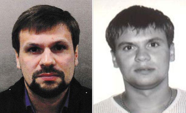 """""""Ruslan Boshirov"""" Britannian julkaisemassa kuvassa vasemmalla ja oikealla Bellingcatin ja The Insiderin Anatoli Tsepigan passikuva vuodelta 2003."""